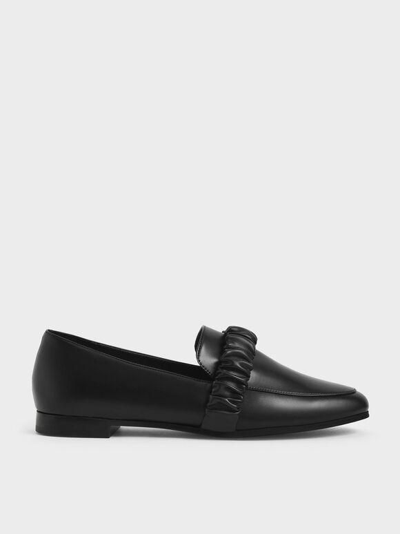 Ruched Strap Loafers, Black, hi-res