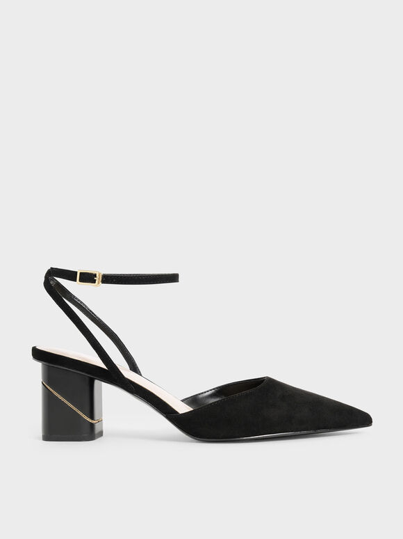 Textured Ankle Strap Pointed Toe Pumps, Black, hi-res