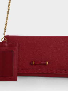 Stone-Embellished Front Flap Long Wallet, Red, hi-res