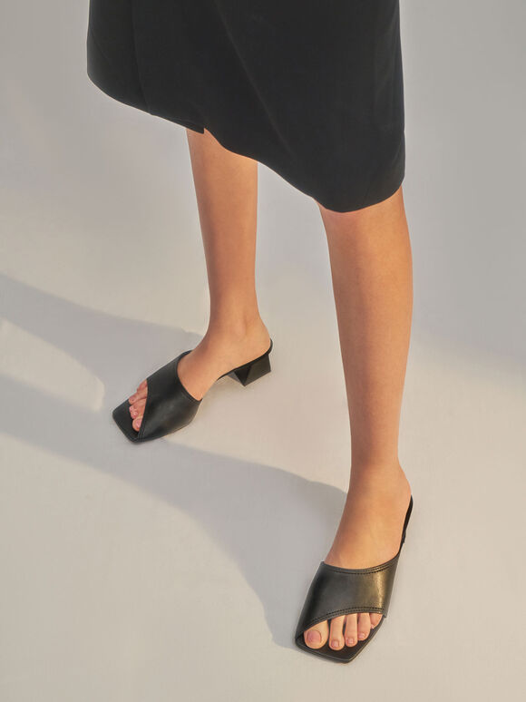 Molly Chiang Collection: Trapeze Heel Asymmetric Mules, Black, hi-res
