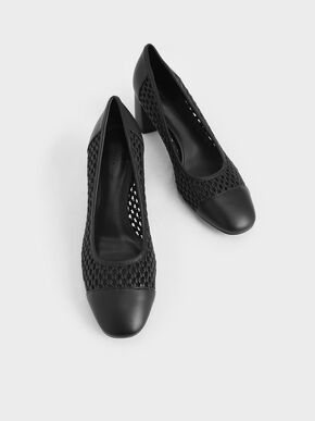 Woven Pumps, Black, hi-res