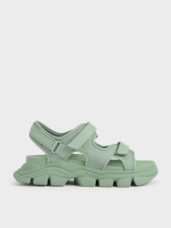 Chunky Sports Sandals, Sage Green, hi-res