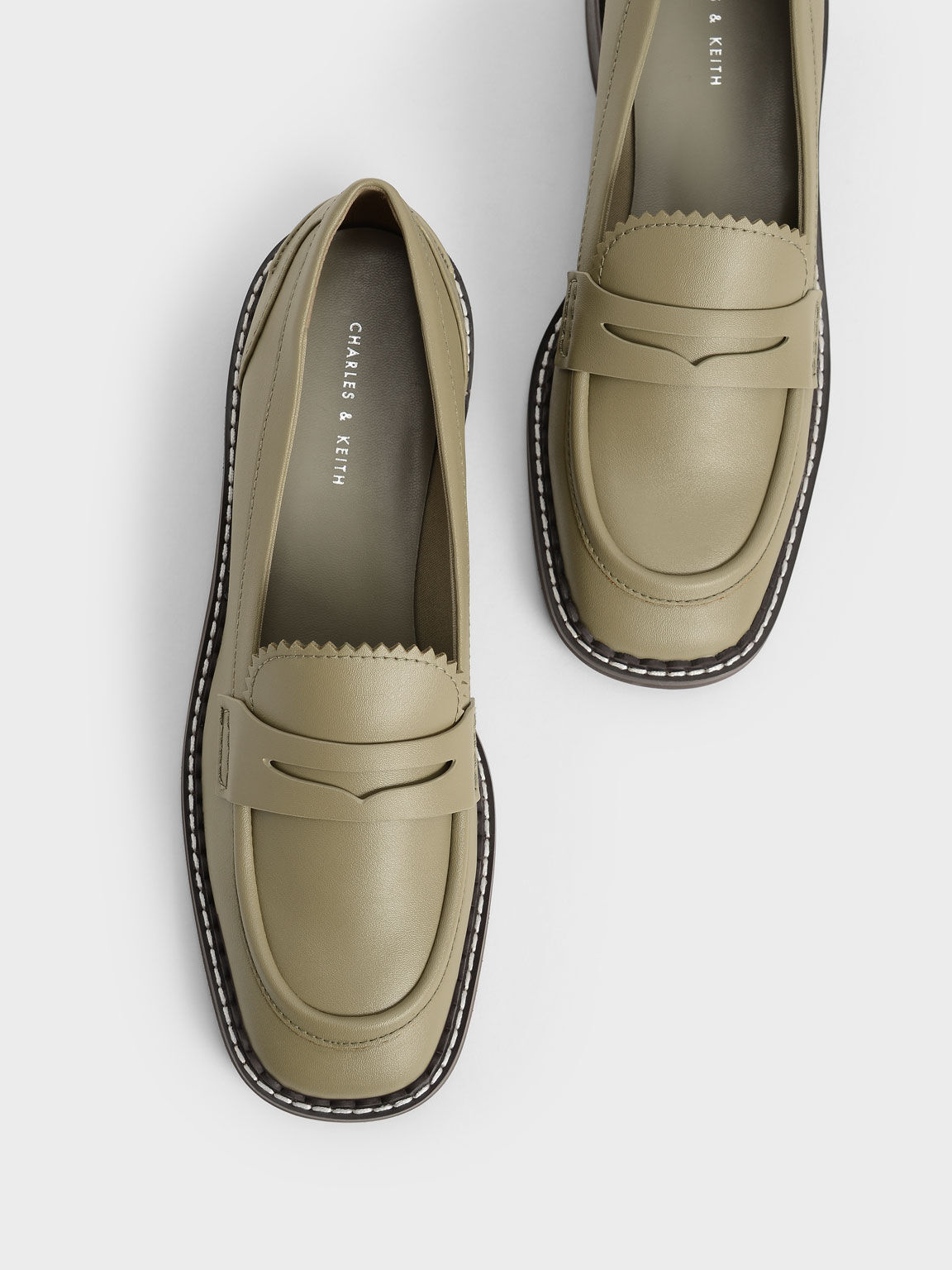 Scallop-Trim Penny Loafers, Olive, hi-res