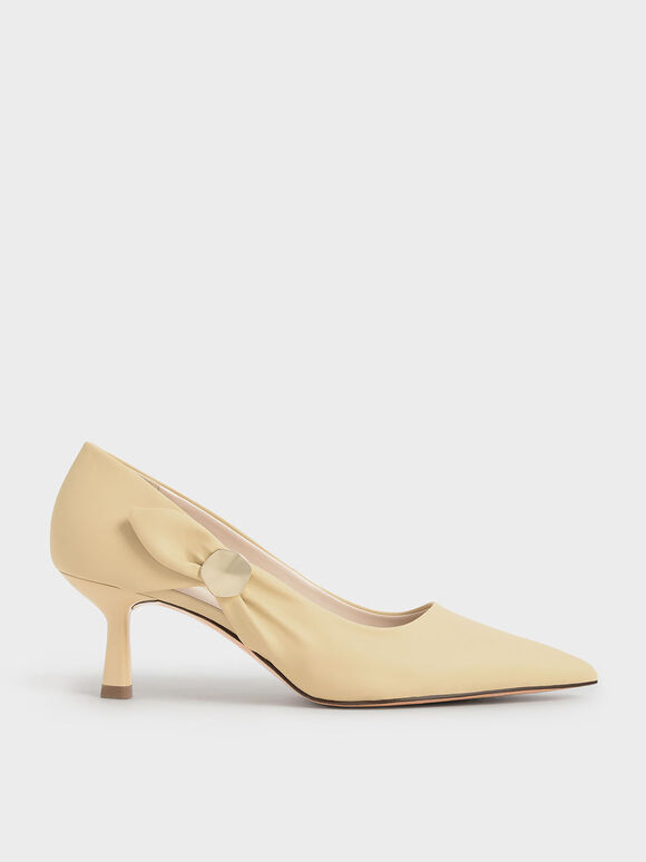 Embellished Pointed-Toe Pumps, Yellow, hi-res