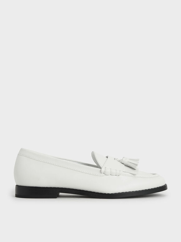 Tassel Penny Loafers, White, hi-res