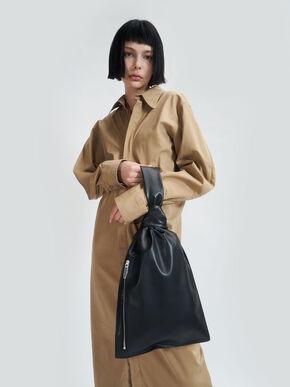 Knotted Single Handle Bag, Black, hi-res