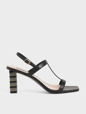 Strappy Block Heeled Sandals, Black, hi-res