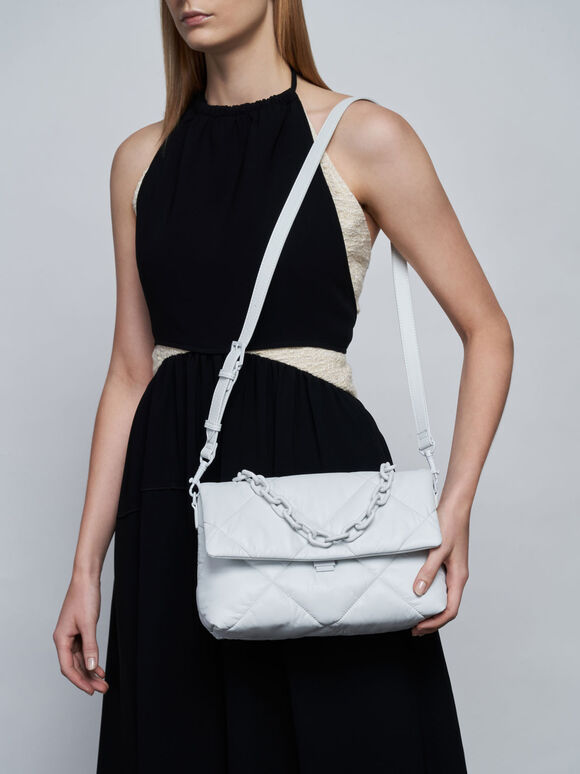 Puffer Chain Shoulder Bag, White, hi-res