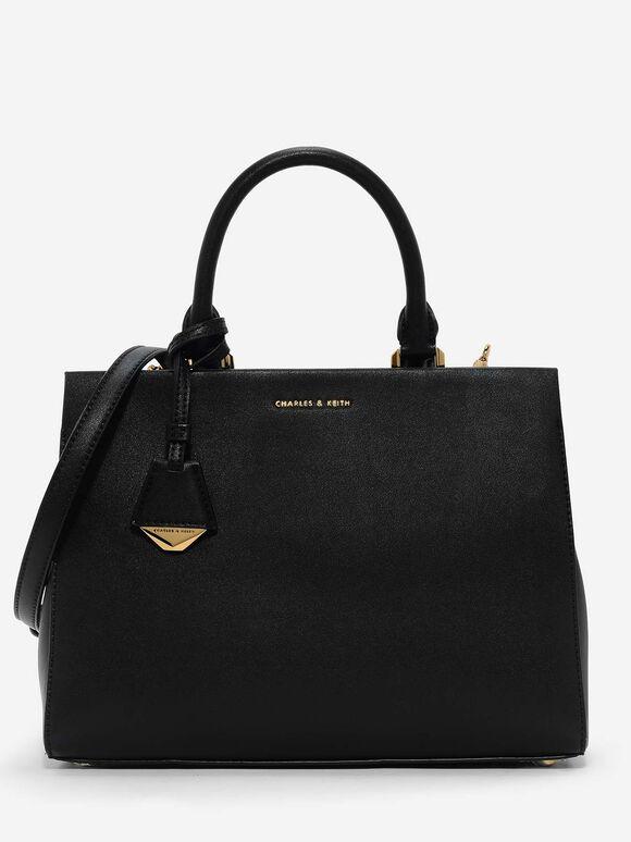 Classic Structured Handbag, Black, hi-res