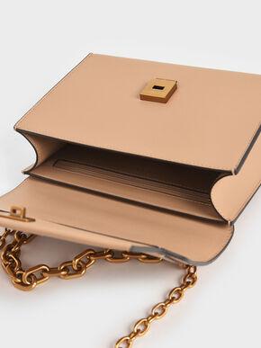 Chain Handle Evening Bag, Beige, hi-res