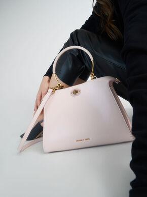 Metal Handle Trapeze Bag, Pink, hi-res
