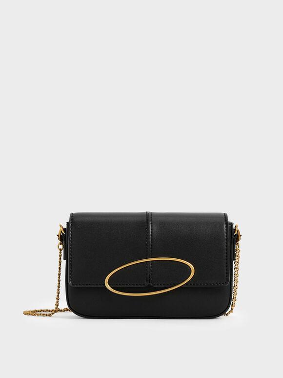 Metallic Ring Shoulder Bag, Black, hi-res