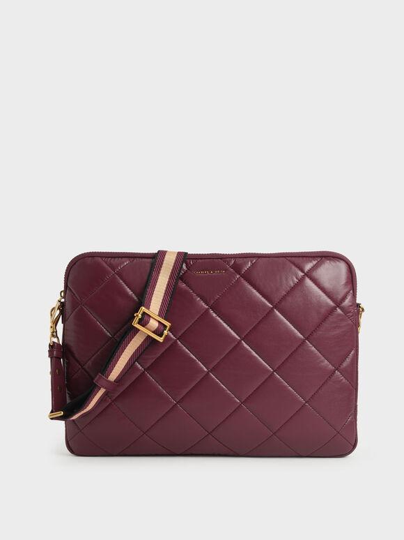 Quilted Laptop Bag, Burgundy, hi-res