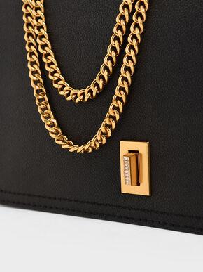 Chain Strap Shoulder Bag, Black, hi-res