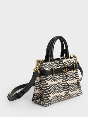 Snake Print Turn-Lock Tote Bag, Multi, hi-res