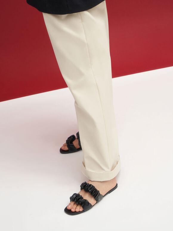 Ruched Strap Slide Sandals, Black, hi-res