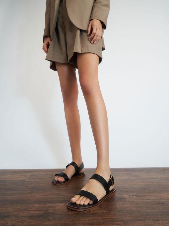 Buckle Ankle Strap Flat Sandals, Black, hi-res