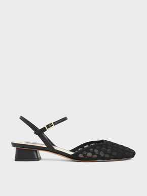 Lace Square Toe Pumps, Black, hi-res