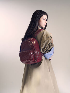 Quilted Double Zip Backpack, Burgundy, hi-res