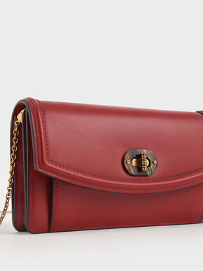 Stone-Embellished Curved Long Wallet, Red, hi-res
