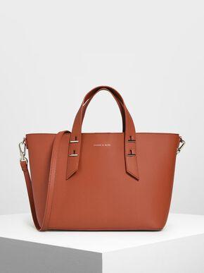 Metal Stud Detail Top Handle Bag, Clay, hi-res
