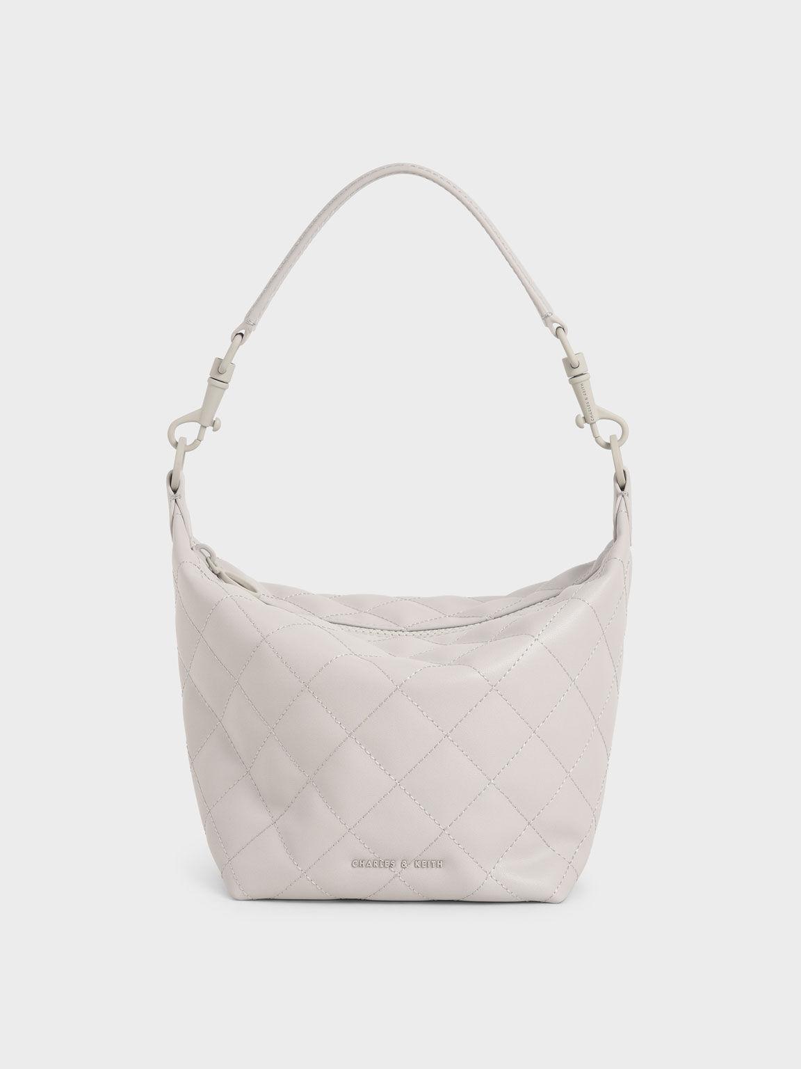 Quilted Hobo Bag, Light Grey, hi-res