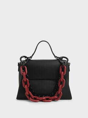 Double Chain Link Bag, Black, hi-res