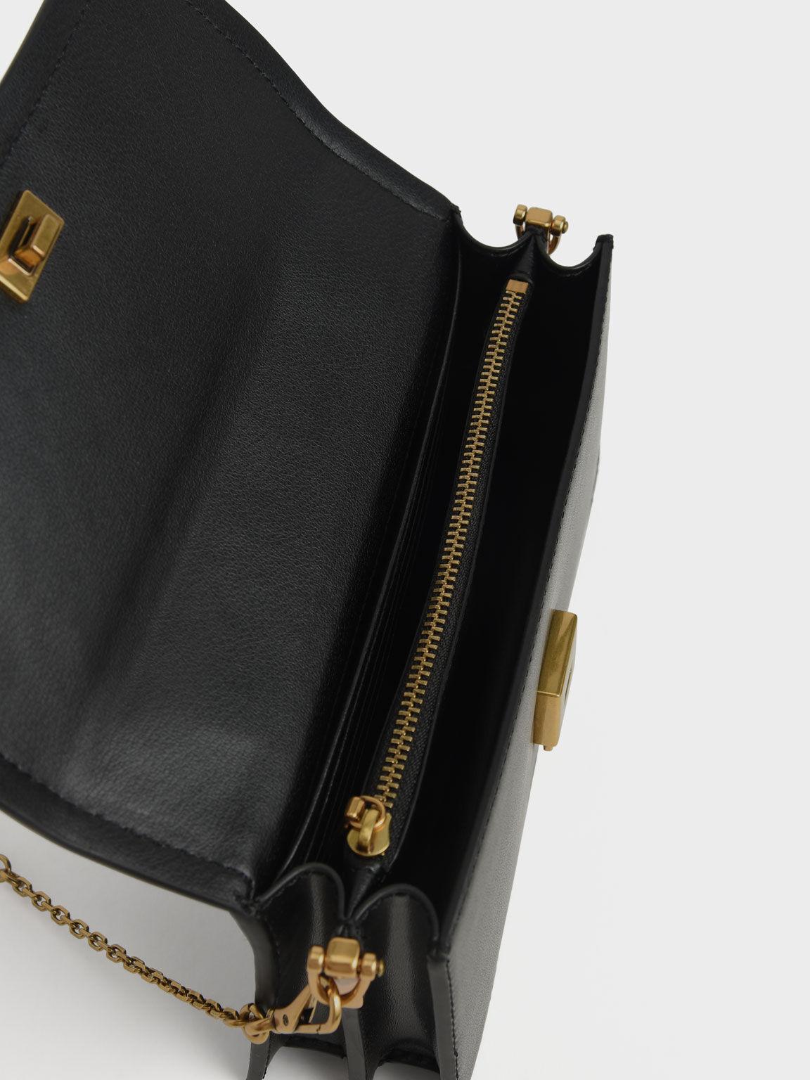 Top Handle Chain Link Long Wallet, Black, hi-res