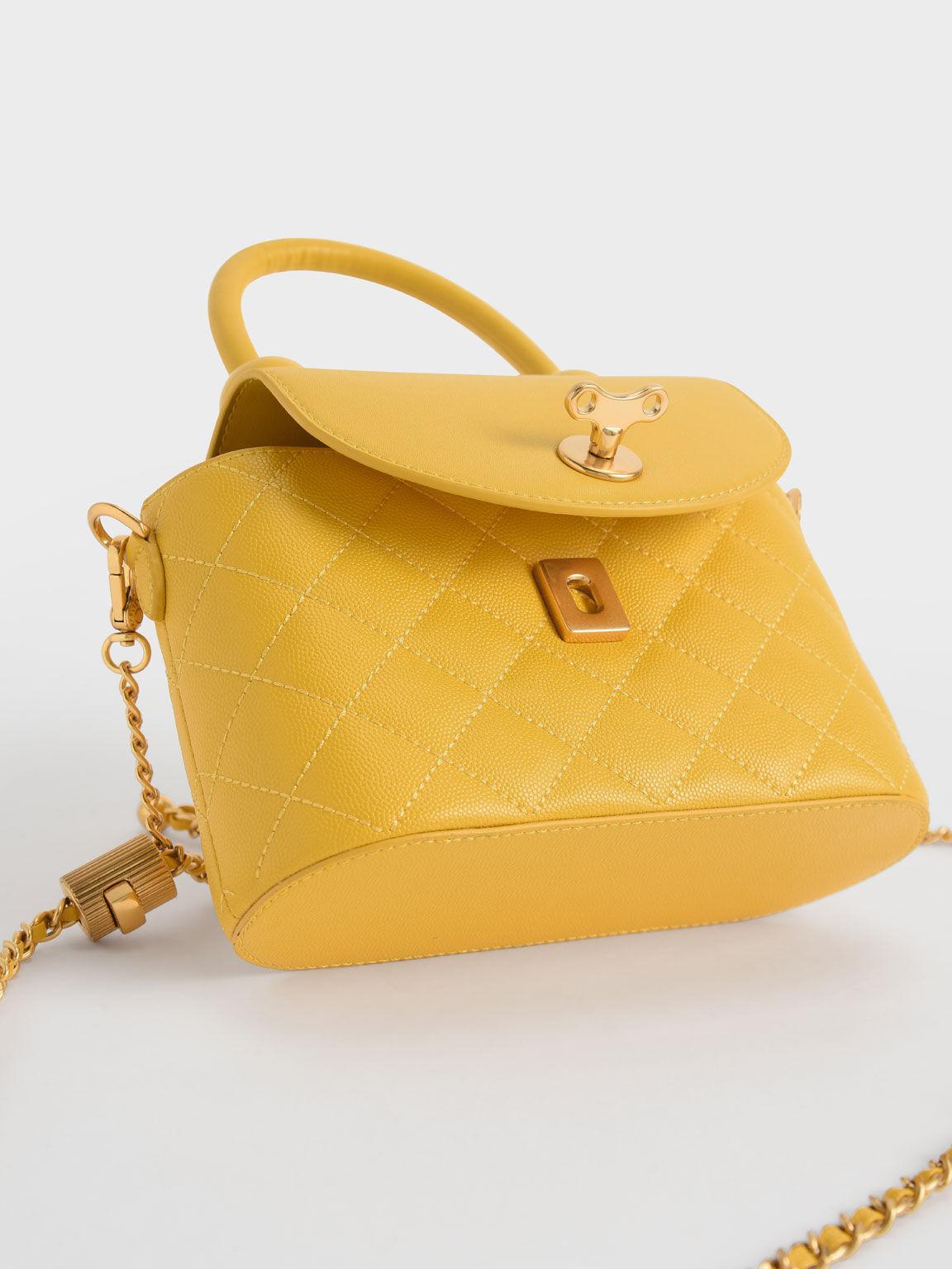 Top Handle Circle Bag, Yellow, hi-res