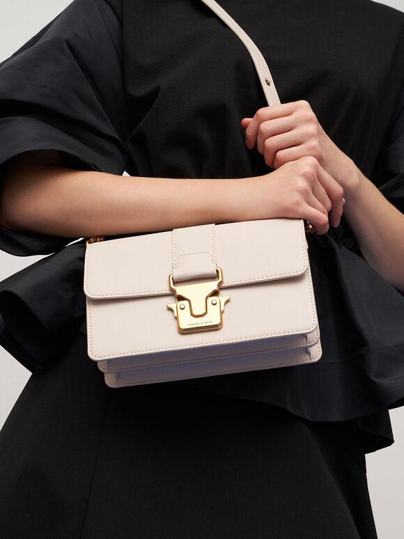 Metallic Accent Shoulder Bag, Ivory, hi-res