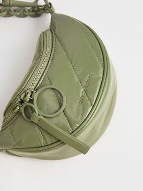 Patent Semi-Circle Crossbody Bag, Sage Green, hi-res