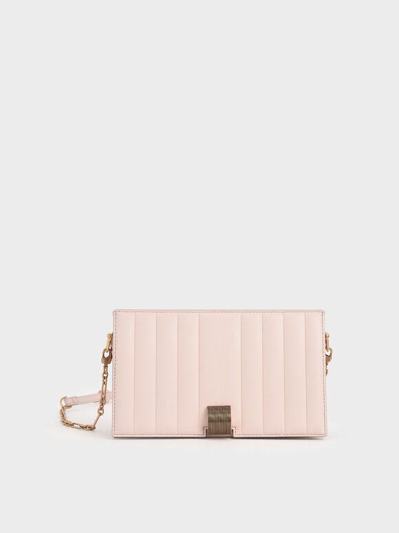 Panelled Metallic Push-Lock Wallet, Light Pink, hi-res