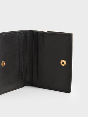 Zip Around Short Wallet, Black, hi-res
