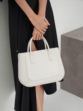 Curved Tote Bag, Chalk, hi-res
