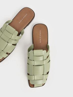 Weave Detail Mule Flats, Sage Green, hi-res
