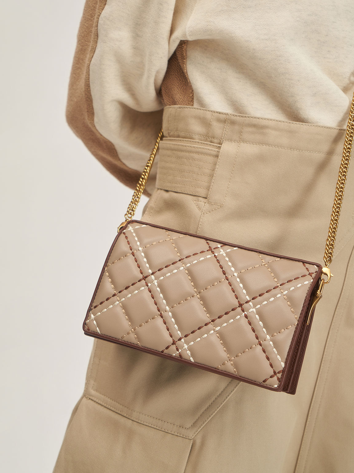 Quilted Long Wallet, Sand, hi-res