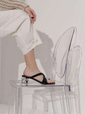 Toe Loop Criss-Cross Sandals, Black, hi-res