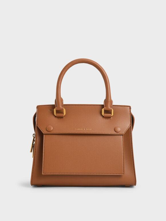 Double Top Handle Handbag, Cognac, hi-res