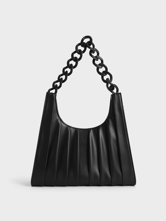 Chain Handle Pleated Shoulder Bag, Black, hi-res