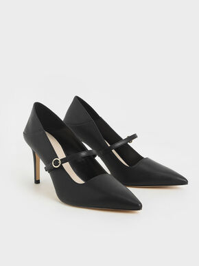 Mary Jane Stiletto Pumps, Black, hi-res