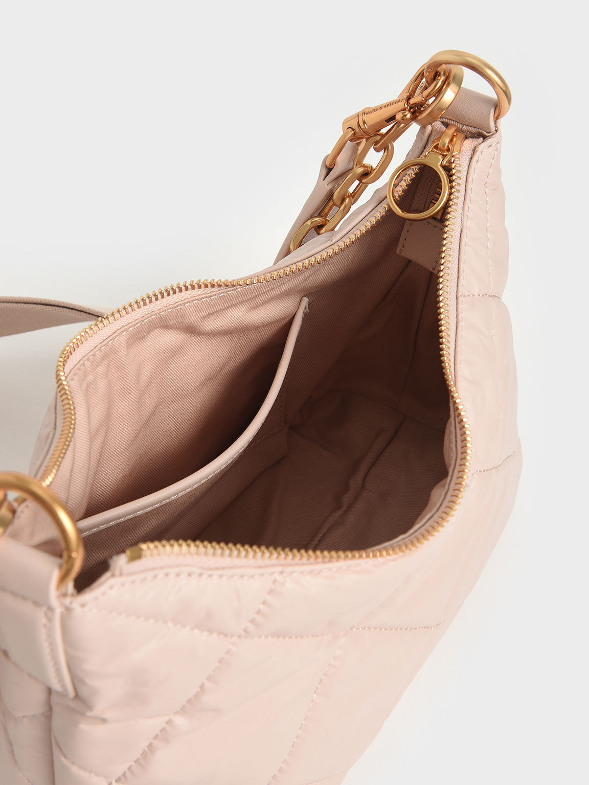 Puffy Quilted Chain Handle Bag, Light Pink, hi-res