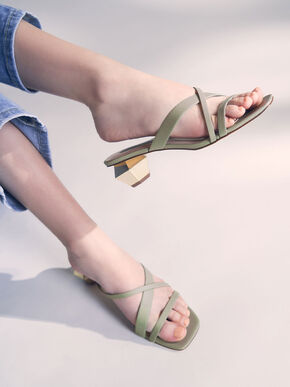 Cross Strap Heeled Mules, Sage Green, hi-res