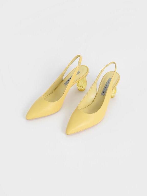 Sculptural Heel Slingback Pumps, Yellow, hi-res