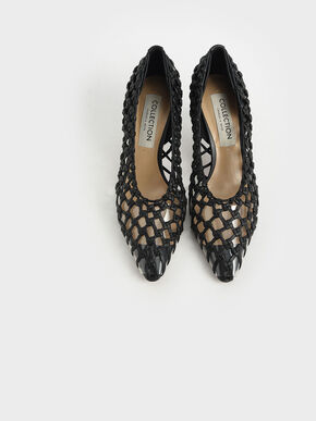 Limited Edition: Woven Caged Pumps, Black, hi-res