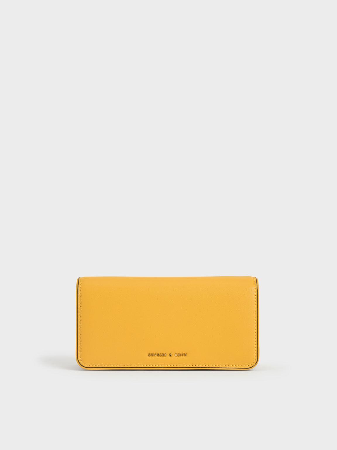 Push-Lock Long Wallet, Yellow, hi-res