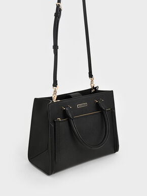 Double Handle Front Zip Tote, Black, hi-res