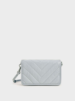 Quilted Patent Crossbody Bag, Light Blue, hi-res