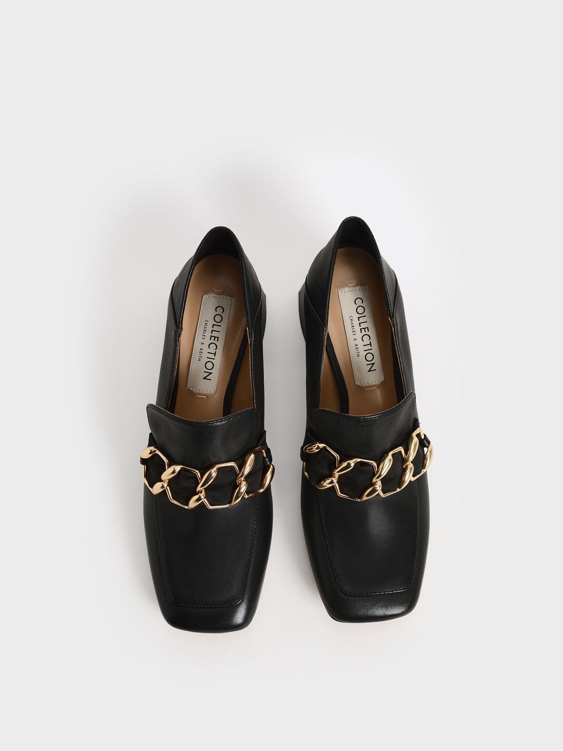 Satin Scarf Leather Step-Back Loafers, Black, hi-res