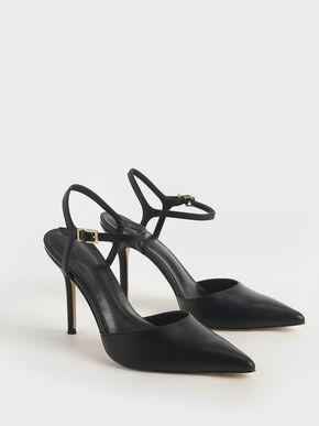 Ankle Strap Stiletto Pumps, Black, hi-res