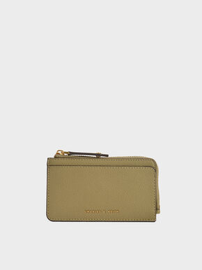Zip Card Holder, Khaki, hi-res
